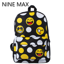 2016 FASHION Priting Canvas Smiley School Bag Casual Children Smile School Bags For Teenagers Women's Mini Smile Book Bag Kids(China (Mainland))