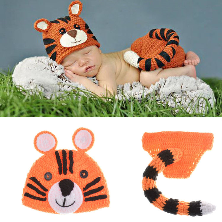 2015 Hot Sale Baby Newborn Beanie tiger Knit Crochet Clothes Hat Outfit Photo Props crochet clothes baby Free Shipping MZS-15002(China (Mainland))