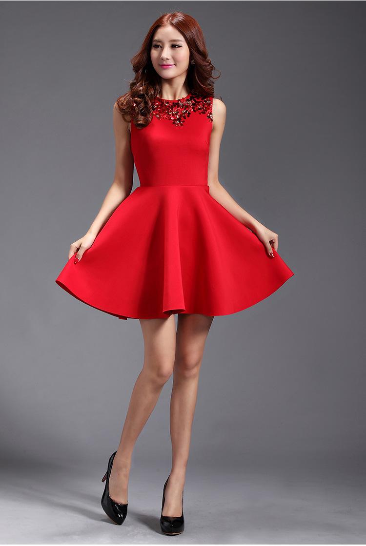 New-Autumn-2014-Winter-Dress-Red-Sleeveless-Sequined-Mini ...