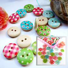 50pcs Mixed Color 15mm Polka Dot Rustic Plaid Handmade Diy Accessories Small Wooden Buttons Sewing Supplies