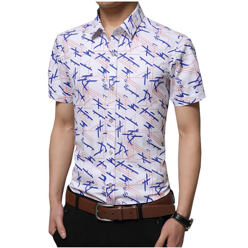 Summer Casual Style Slim Fashion Men Shirt Brand Casual Short Sleeved Printing Brand Formal Business Dress Shirts 5XL Q-QDJ-68(China (Mainland))