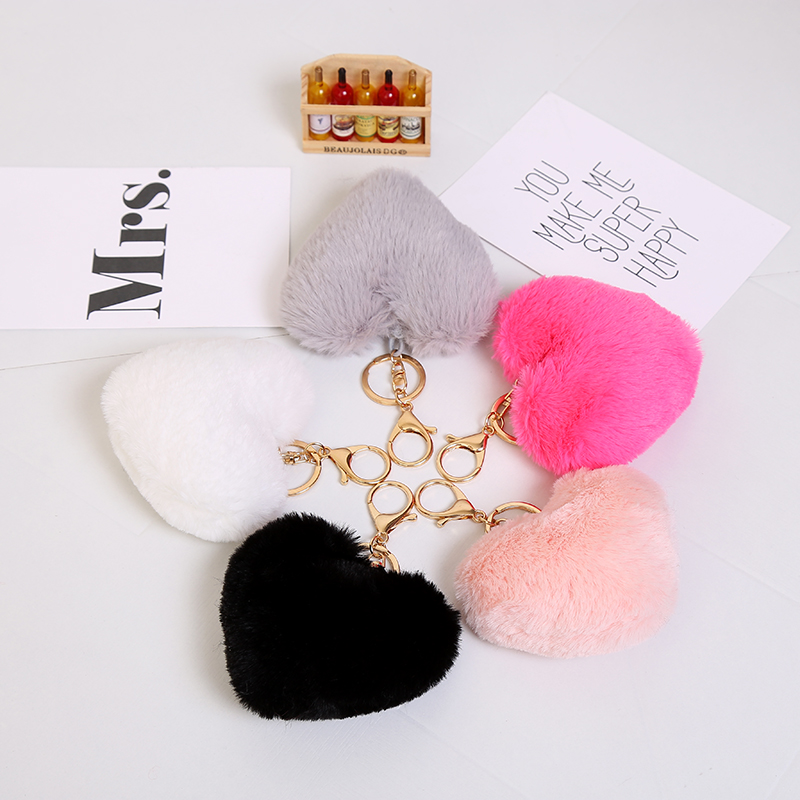 New 2017 Fur Love Heart Shape Keychain Cute Soft Pompon Pendant Phones Car Bag Charm Tag Key Ring Gold Plated Key Chain Chaveiro(China (Mainland))