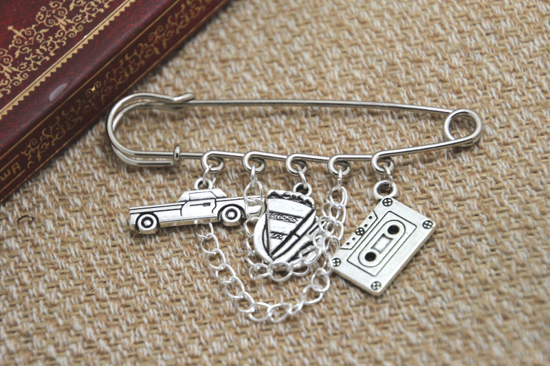 12pcs Supernatural inspired Dean Winchester themed charm with chain font b kilt b font pin brooch