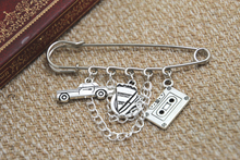 12pcs Supernatural inspired Dean Winchester themed charm with chain kilt pin brooch (50mm)