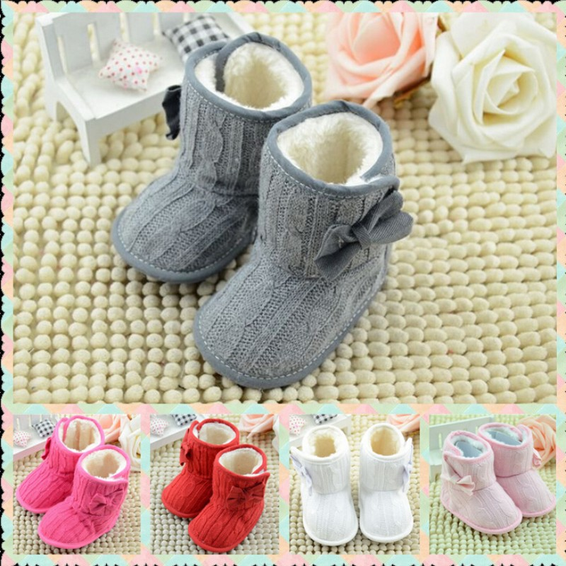 Hot Fashion Trendy Winter Baby Shoes Keep Warmest 5 Color 3 Size Bebe Boots Infant Toddler Big Bow Snow Soft Solid First Walkers(China (Mainland))
