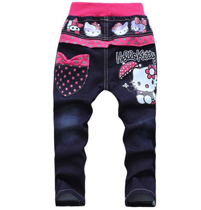 Free shipping korean children's clothing hello kitty girls jeans for kids wholesale and retail(China (Mainland))