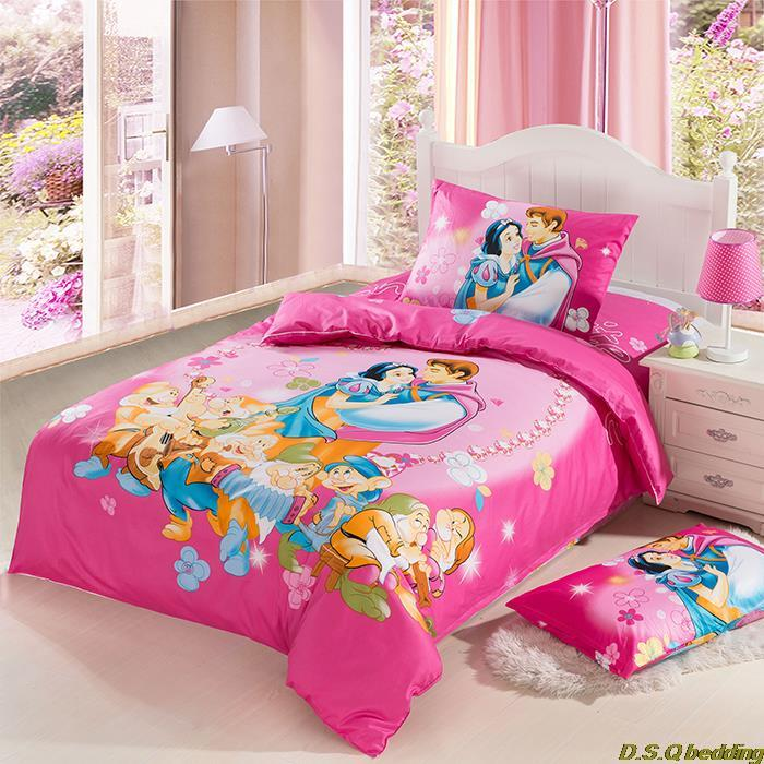 3pcs princess prince kids character bedding sets twin full size linen sheet duvet cover pillow - Twin size princess bed set ...