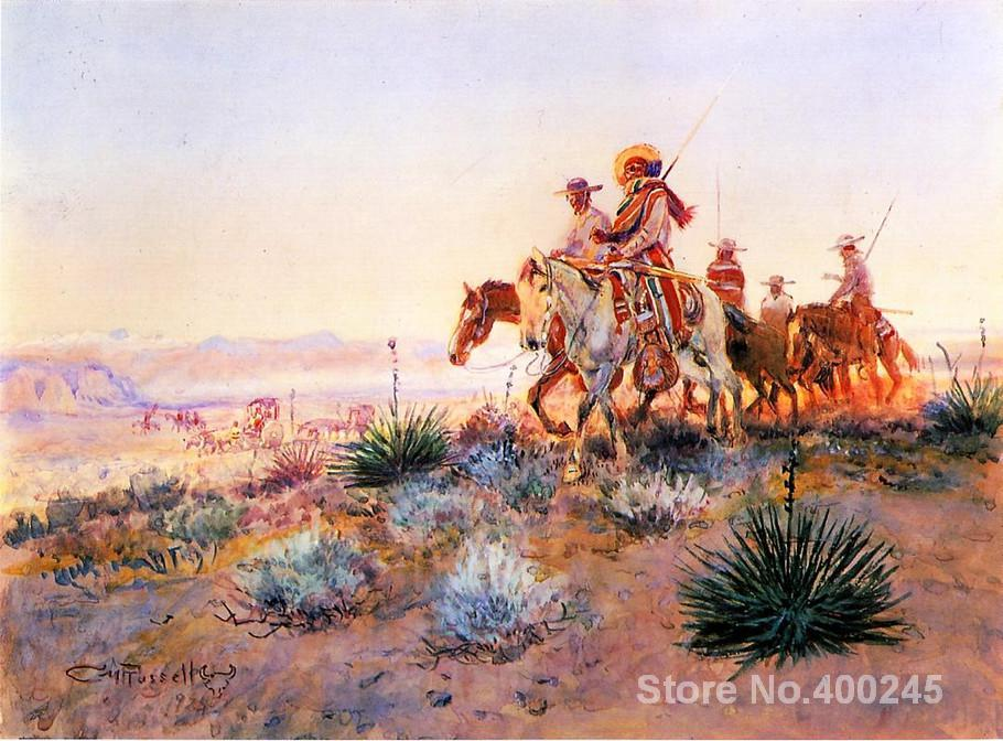 Mexican Buffalo Hunters,Paintings by Charles Marion Russell,Modern Landscape art,High quality,Hand-painted(China (Mainland))