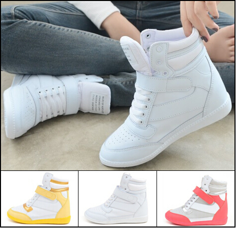 New 2015 Spring Autumn Women Ankle Boots Heels Shoes Women Casual Sneakers Height Increased Wedges High Top Free Shipping(China (Mainland))