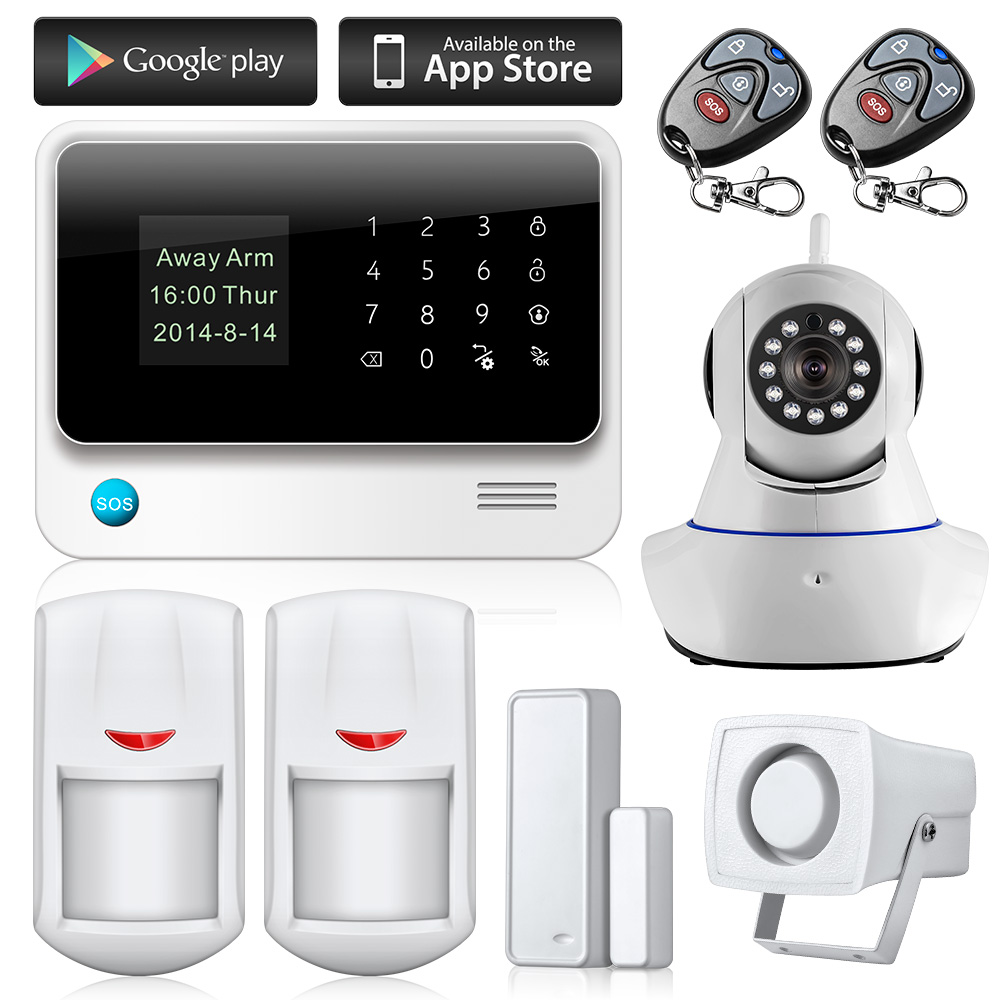 WiFi Alarme Maison Wireless GSM Home Security Alarm System IOS Android Control With IP Camera support language switch(China (Mainland))