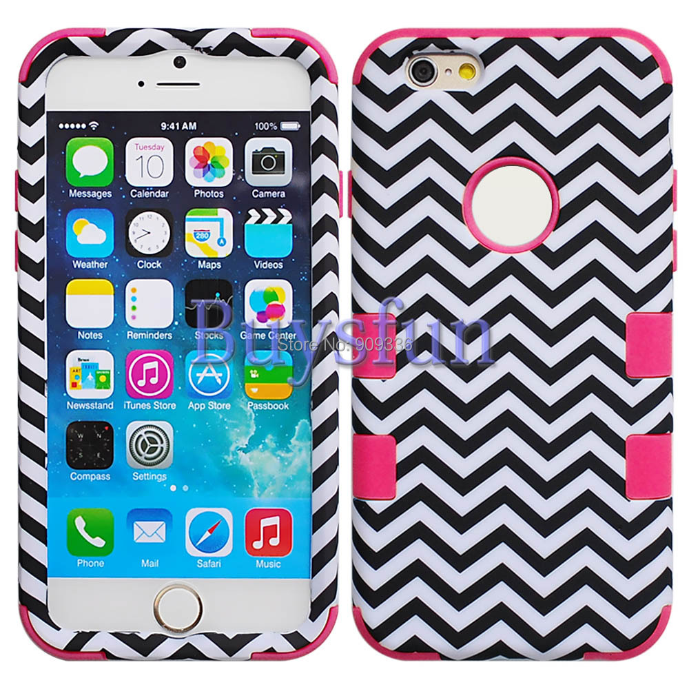 Mixtd colors Chevron Hybrid Rugged Purple Rubber Hard Cover Case for iPhone 6 Plus(China (Mainland))