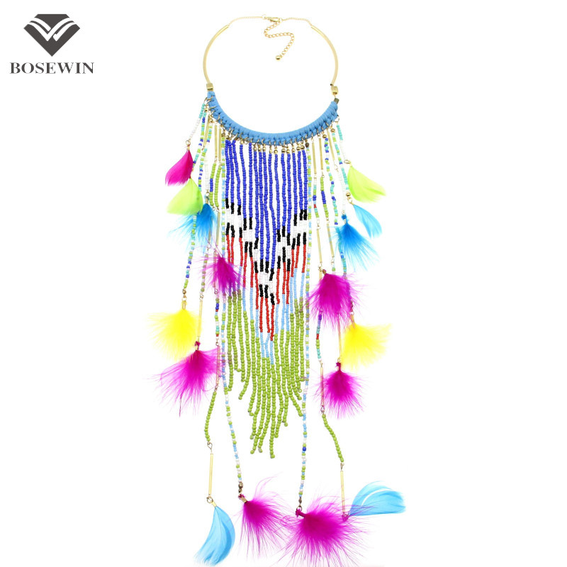 2015 Women Charm Statement Jewelry Fashion Accessories Gold Chain Feather Resin Hanging Bead Chokers Necklaces &amp; PendantsCE3219<br><br>Aliexpress