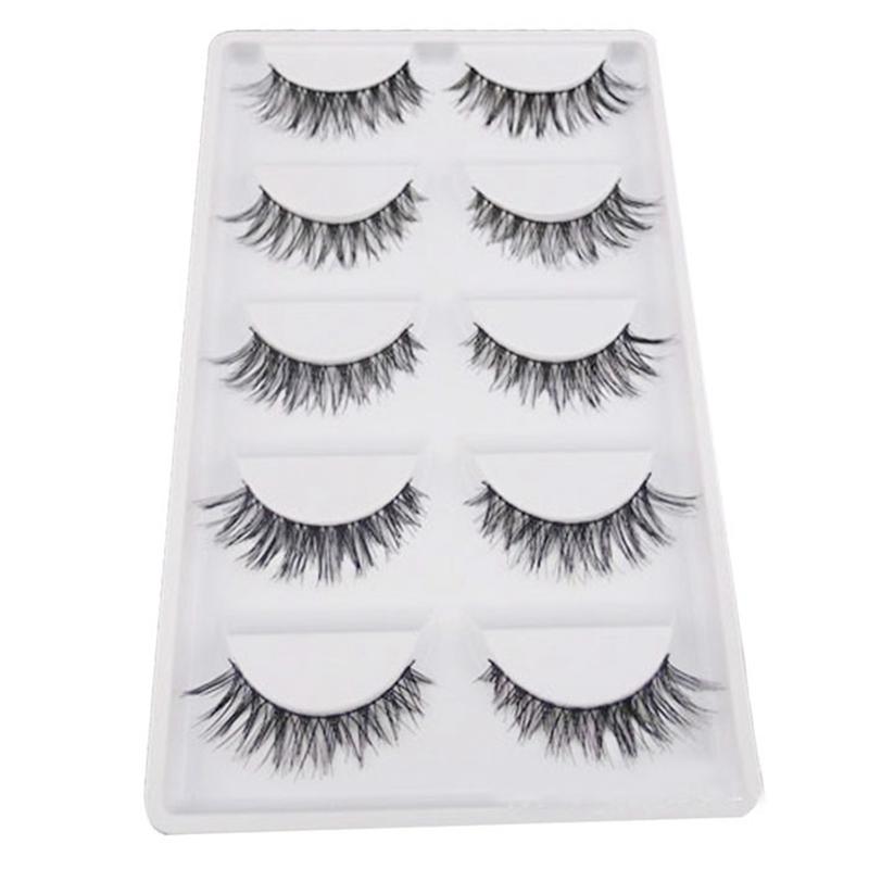 2016 Natural 5 Pair/Lot Crisscross False Eyelashes Lashes Voluminous HOT Eye Lashes human hair eyelashes set(China (Mainland))