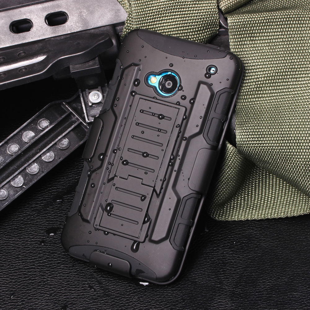For HTC One M7 M8 M9 Case, Luxury Armor Shockproof Holster Silicone Hard Case For HTC One M7 M8 M9 Cell Phone Shell Cover Bags(China (Mainland))