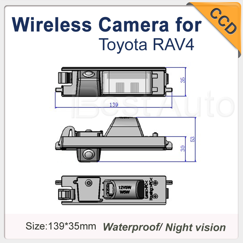 "for Toyota RAV4 2009/2010 Car camera CCD 1/3"" Auto Car Parking Camera Nigh Vision wireless for GPS/DVD 170 Degree 1090K(China (Mainland))"