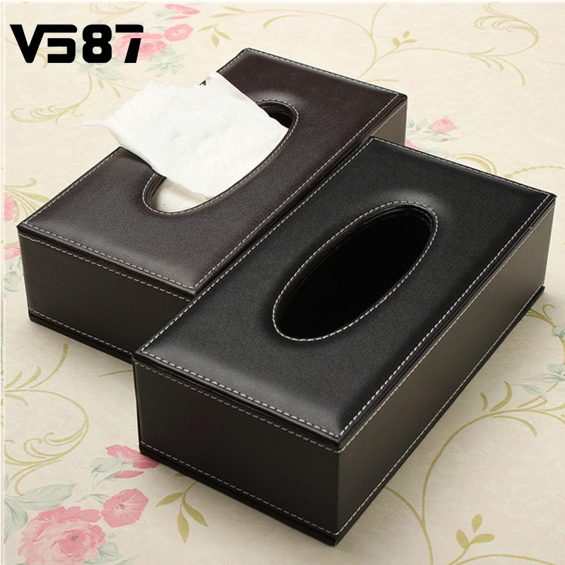 1PCS Wholesale Portable Leather Black Rectangular Tissue Box Pumping Paper Hotel Home Car Gift Car Supplies(China (Mainland))