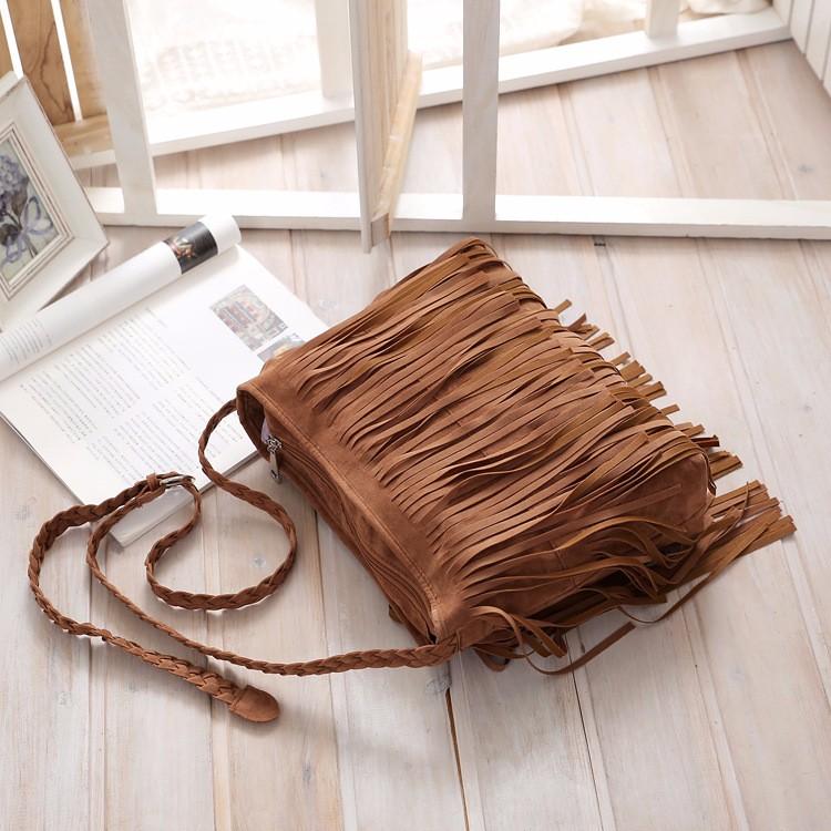 Hippie Suede Fringe Tassel Messenger Bag Women Hobo Shoulder Bags Crossbody Handbag (12)