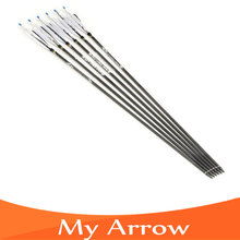 Wholesale 6pcs lot Replaceable Arrowhead 30 Length Carbon Arrow 500 Spine Hunting Or Practice Archery For