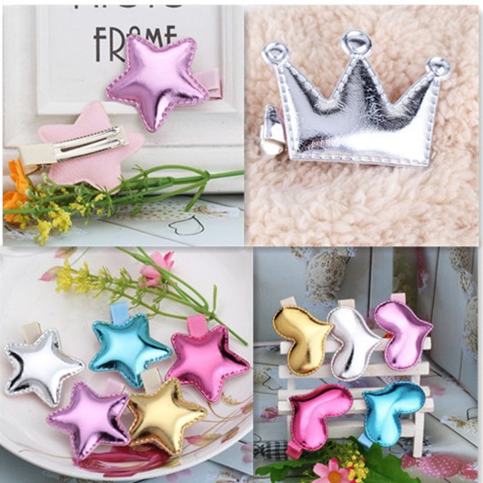 Cute Style Hair Accessories New Design Leather Shiny Star Baby Accessories Girls Heart Crown Hairpins kids