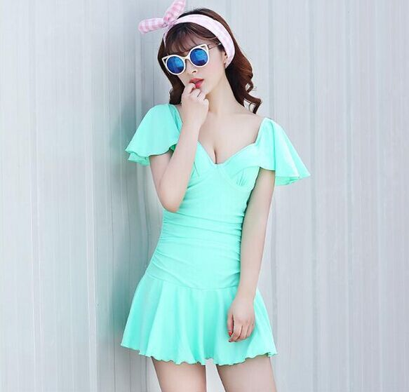 2015 New fashion women swimming wear high quality lovely bright color one piece push up and slim swimsuits factory direct sale(China (Mainland))