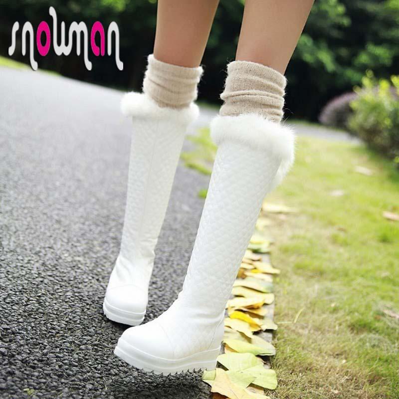 Women Boots Rabbit fur Grid Knee High Snow Boots Hidden Wedges Thick Sole Platform Snow Shoes Woman Warm Women Winter Boots