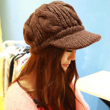3 Color !2015 Fashion Leisure Warm Winter Hats For Women Knitted Marmot Caps Women Hats For Girls Beanies Thickening Woolen Hat(China (Mainland))