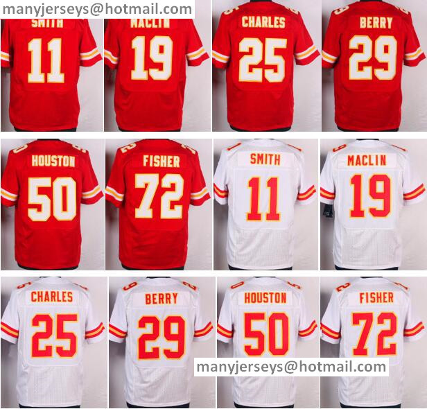 Cheap 11 Alex Smith 19 Jeremy Maclin 25 Jamaal Charless 29 Eric Berry 50 Justin Houston 72 Eric Fisher Red White Free Shipping(China (Mainland))