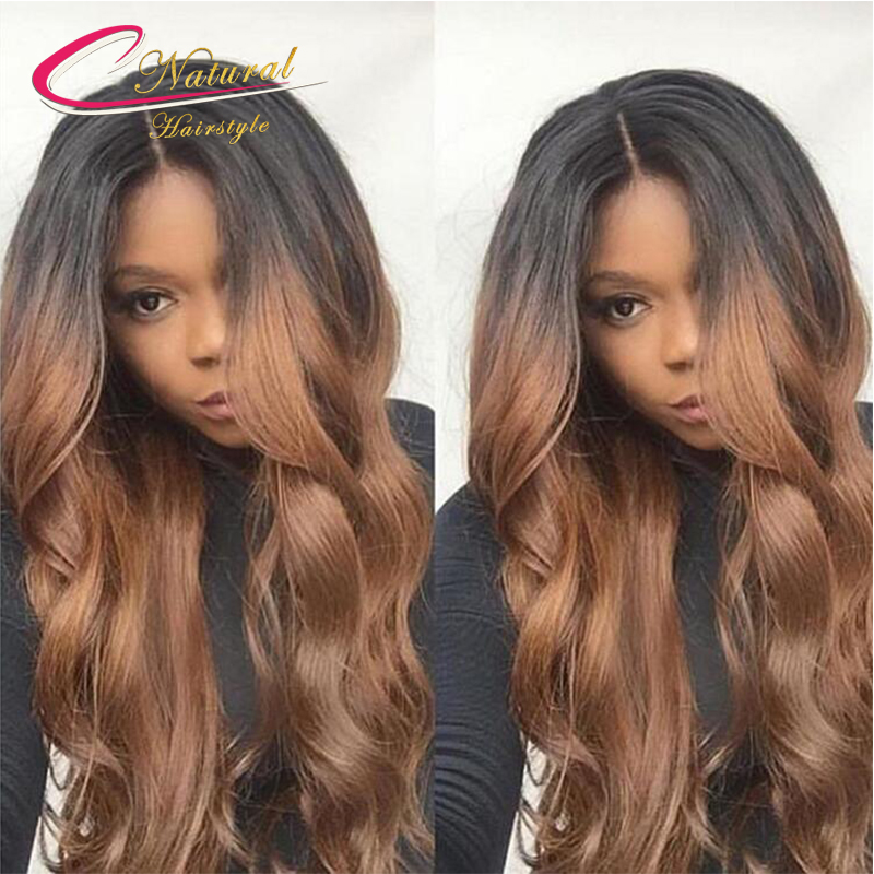 Ombre Brown Body Wave Human Hair Full Lace Wigs Density 130% Virgin Brazilian Hair Glueless Lace Front Wigs For Black Women
