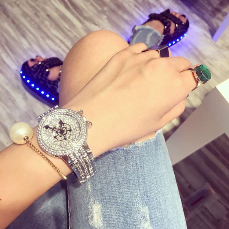 Роскошные Модные Дамы Женщины Наручные Часы Указатель Rhinostone Игристые Сияющий Кварцевые Часы Montre Роковой Relógio Feminino OP001
