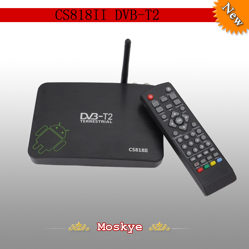 2014 Newest DVB-T2 android tv box CS818II Dual Core AMLogic8726-MX 1.5GHz Android 4.2.2 WiFi Bluetooth HD DVBT free shipping(China (Mainland))