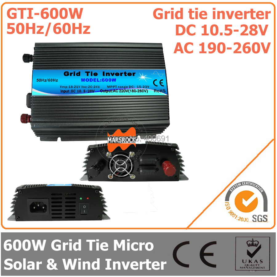 600W Grid Tie Micro Inverter, 10.5-28V DC to AC 190-260V Pure Sine Wave Inverter Suitable for 18V PV module or Wind Turbine(China (Mainland))