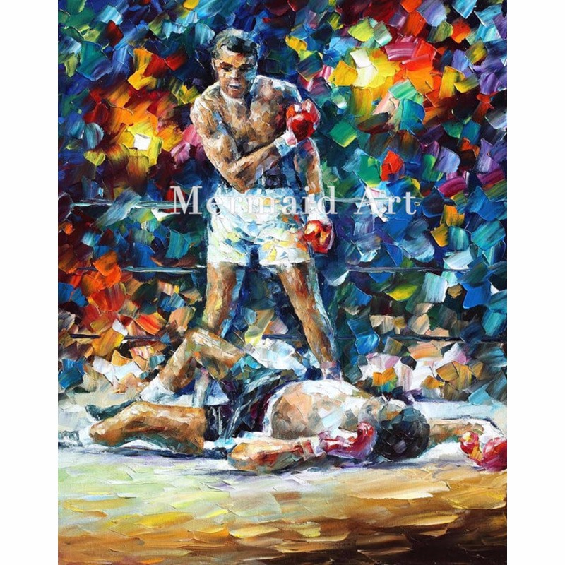 Buy hand painted Modern Artwork of Landscape Palette knife thick Art Muhammad Ali canvens Oil Painting Wall Decoration Fine Art cheap