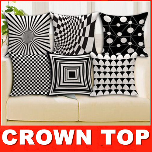 2015 Best Selling Western Style Geometric Black White shading soft cotton fitted headrest pillow cushion cover export quality(China (Mainland))