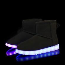 Luz LED Zapatos ugs mujer botas cálidas botas de nieve de peluche Up Luminoso Superestrella de alta top zapatos de invierno Caliente de La Manera colorida Casual(China (Mainland))