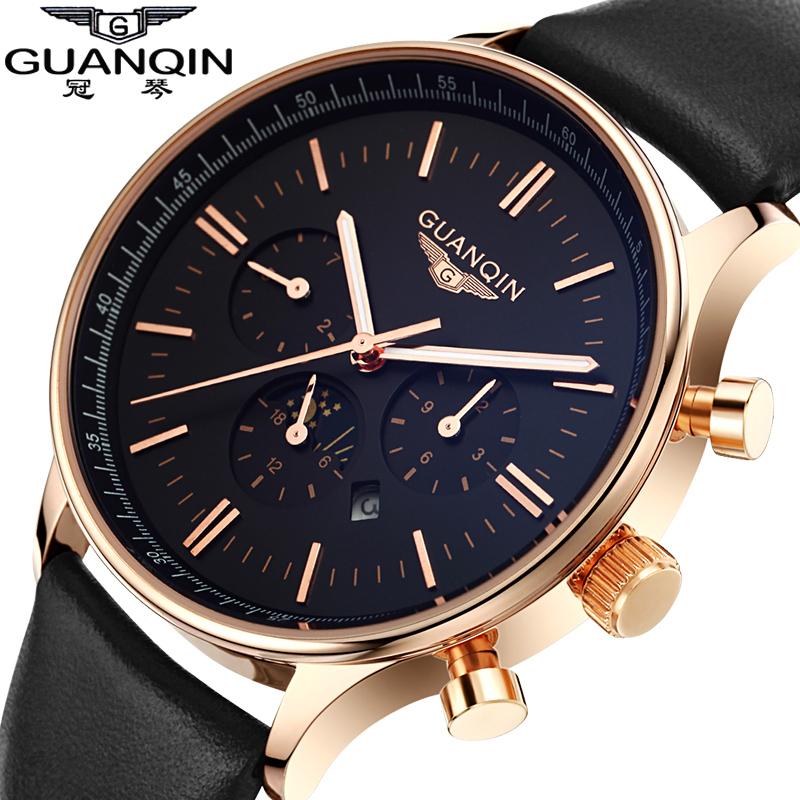 2015 montres hommes luxe Top marque GUANQIN mode hommes Quartz montre sport casual montre - bracelet relogio masculino relojes goldblack(China (Mainland))