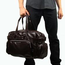 Free Shipping Hot Sale Brand Travel Bag Soft Faux Leather Large Capacity Zipper Men Travel Bags Handbags Black Coffee ZA0011(China (Mainland))