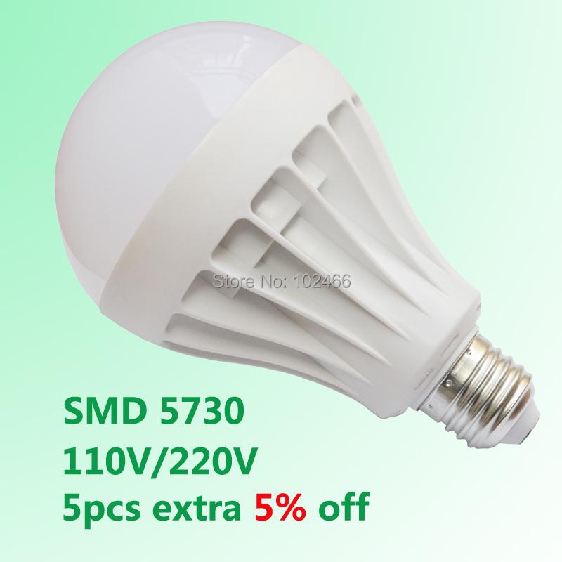 Wholesale SMD 5730 Led Light Bulb Led E27 3W 5W 7W 9W 12W 15W 18W LED Lamp 110V 220V Cold Warm White Bulb Led Spotlight Lamps(China (Mainland))