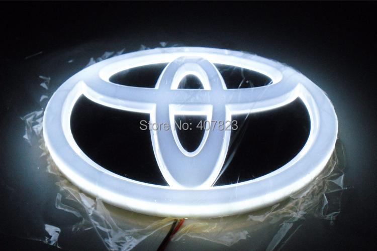 car 4D logo light car lighting emblem lamp / LED bedge logo/ white red blue 4D toyota hiace head rear tail logo light 13.2*8.9cm(China (Mainland))