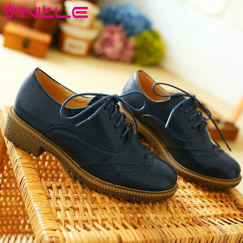 VINLLE 2014 new style women oxford shoes Spring and Autumn shoes solid lace-up for ladies oxford shoes Wedding Shoes size 34-39<br><br>Aliexpress
