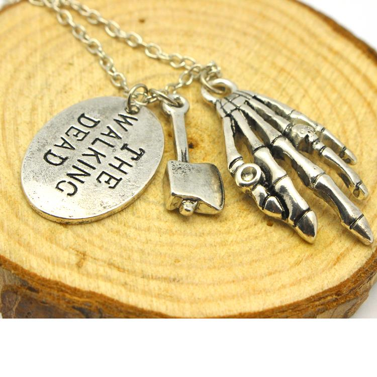 Freeshipping The Walking Dead Hand Stamped Axe Walker Charms Necklace A5-6-XL-429(China (Mainland))