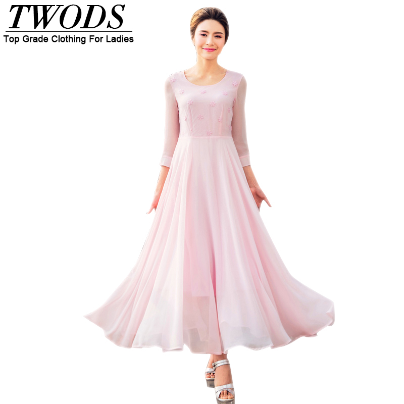 Twods Cute Pink Chiffon Women Summer Dress Bow 3/4 Sleeve O-neck Embroidery Embellish Swing Slim Cut Long Maxi Dresses Vestidos
