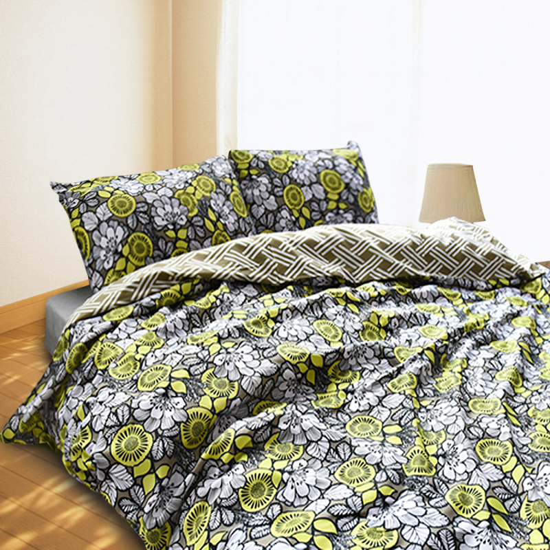 Flowers Style Duvet Cover Set Yellow And Black Quilt Cover 3pcs Flower Beddig Set Color Painting Duvet Cover Queen Pillow Case(China (Mainland))