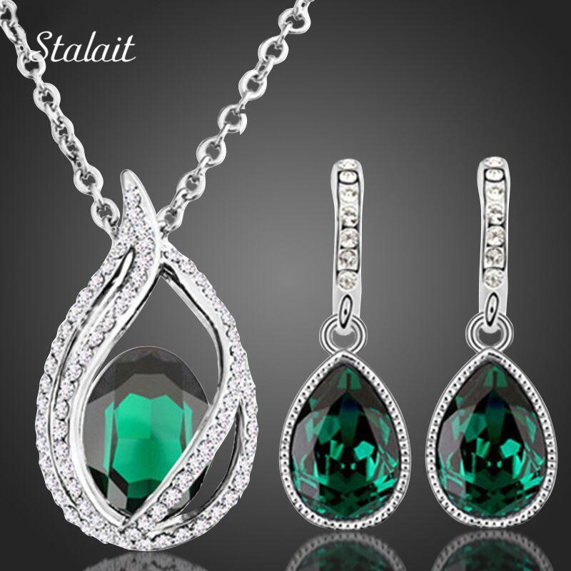 Women Bridal Wedding Jewelry Set Silver Plated Necklace Earring Set Green Rhinestone Crystal Water Drop Jewelry Sets