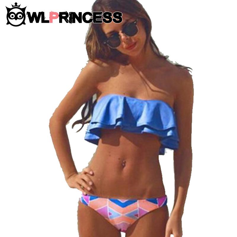 Bikini Summer Style Bandeau Bikinis Women top Swimsuit Blue Low Waist Vintage Push Up Swimwear Body suit Swimsuits Bikini Set(China (Mainland))