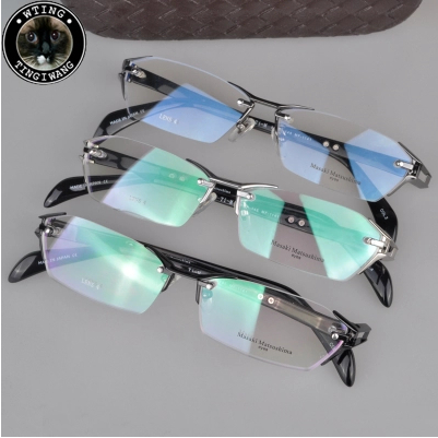 2014 summer new Masaki myopia glasses frame plain mirror titanium rimless men women fashion eyeglasses oculos de grau - A-Zed Luxury Eyeglasses store