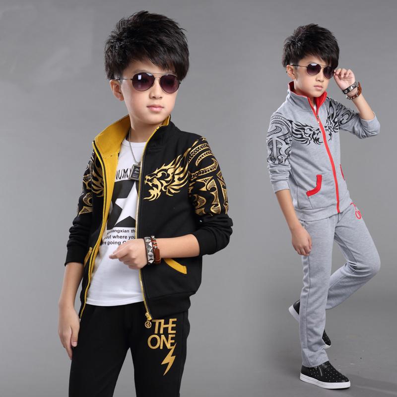 HOT 2016 Spring new boy sport leisure suit  childrens set   black leisure sports two-piece   12-13 age boys suit  kids<br><br>Aliexpress