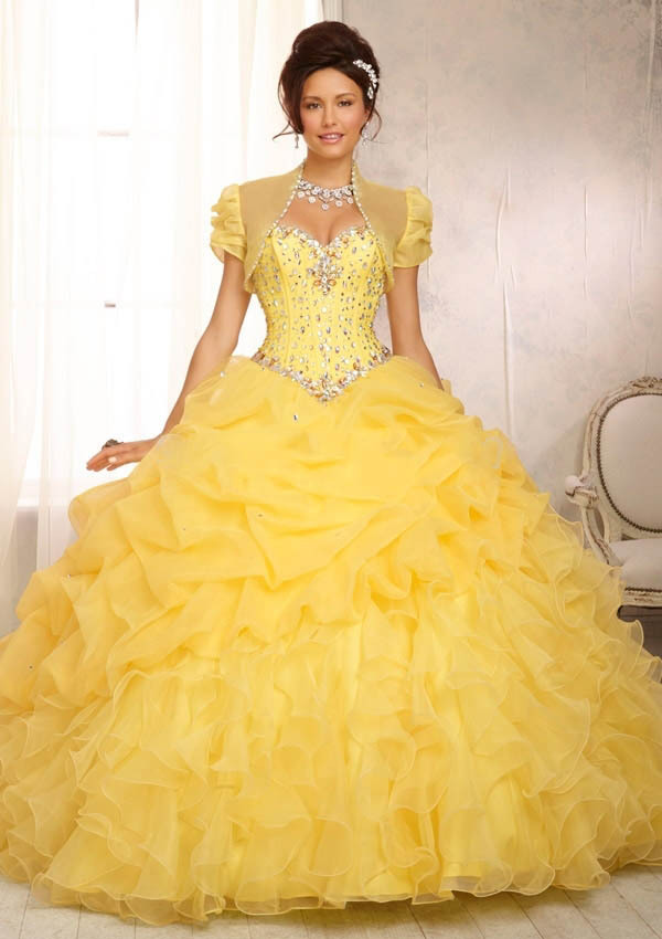Quinceanera Dresses Jacket Ruffles Yellow Turquoise Dress Organza Pink 15 Years Sweetheart Beaded - Weddings & Events Collection store