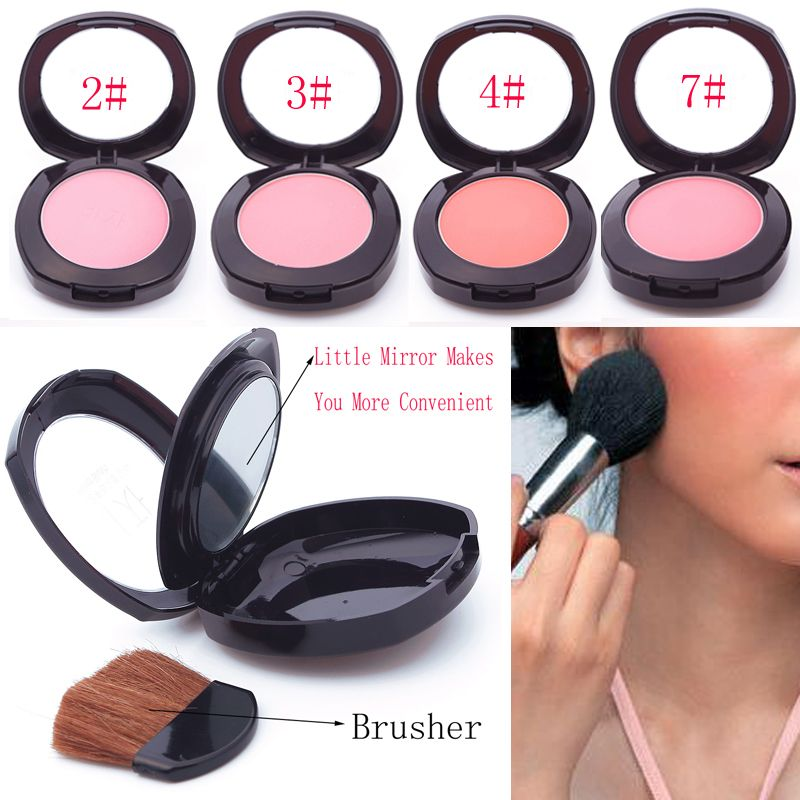 Soft Pressed Natural Face Blush Powder Blusher Palette Makeup with Mirror Brush #61696(China (Mainland))