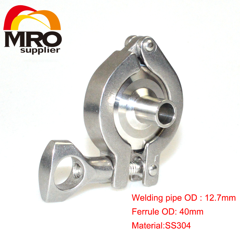 1 set 12.7MM OD Sanitary Weld on 40mm Ferrule + Tri Clamp + Silicone Gasket Stainless Steel SS304 SWT-12.7-3(China (Mainland))