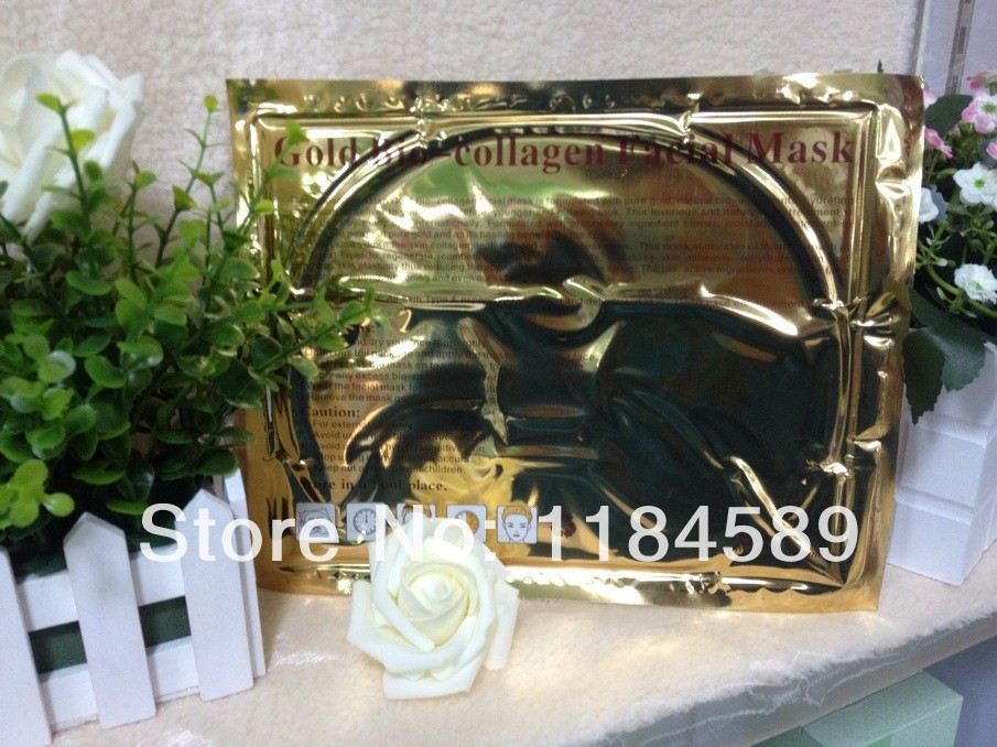 Anti-aging Superior Quality 100% Obvious Results Gold Face Collagen Gold Mask 2pcs/lot free shipping(China (Mainland))